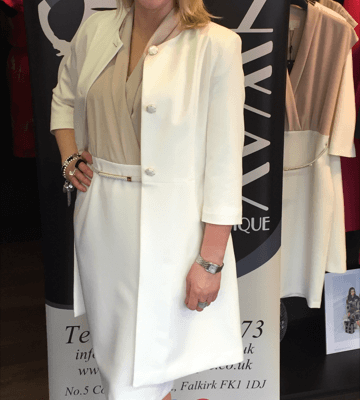 Fee G Belted Coffee and Cream Dress and Matching Cream Dress Coat