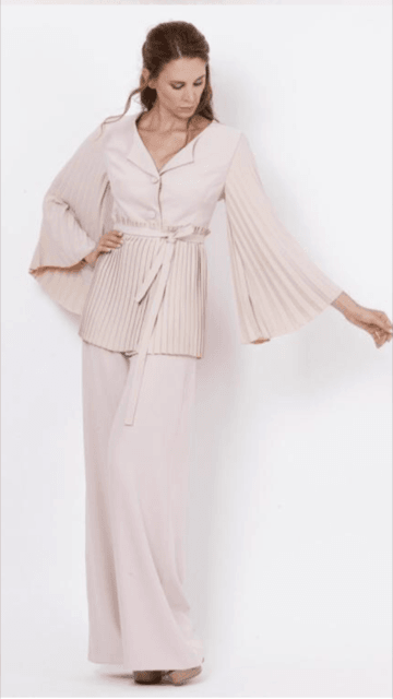 Leg Press For Sale >> Camelot Blush Pink Suit with Pleated Sleeve Jacket and Floating Wide Leg Trousers - Available ...