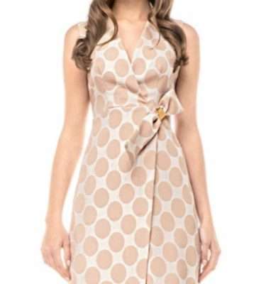 Camelot Wrap Dress with Faux Wrap and Gold Clasp