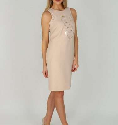 Badoo Rosi Sleeveless Dress With Applique Gold Design