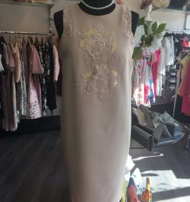 Badoo Zoe Slamon dress with gold and lace appliue panel