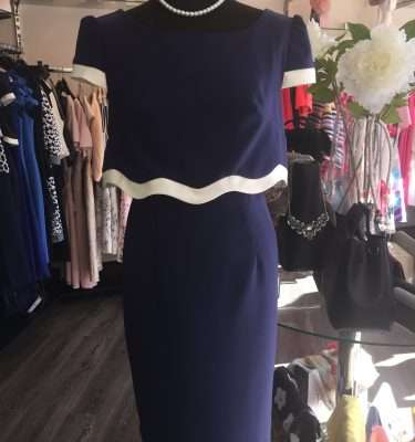 Badoo Nalia Navy and Ecru Dress with Overlay Top