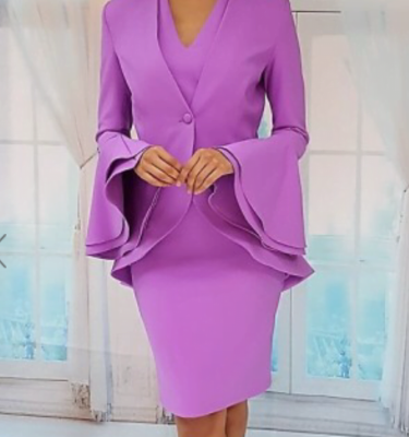 Red and Royal Dress Suit with Layered Bell Sleeve Jacket in Lilac
