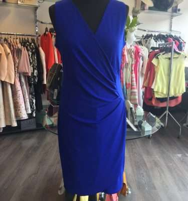 Smashed Lemon Cobalt Jersey Wrap Dress