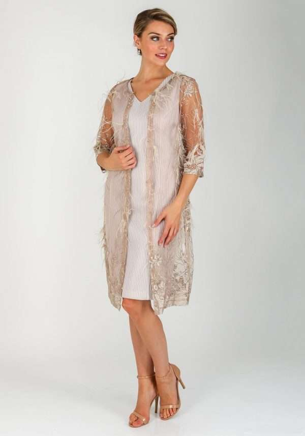 Ella Boo Gold Sheer Feather Trim Coat
