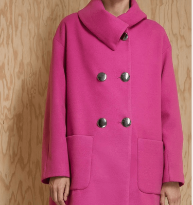 Badoo Pink Coat with Double Silver Button Fastening