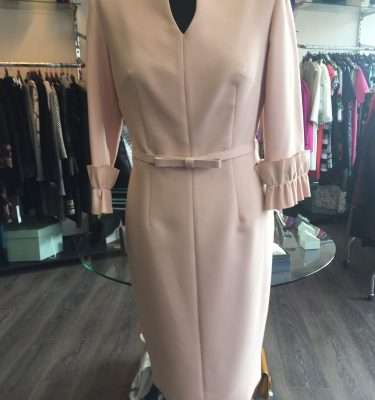 Badoo Pink Belted Dress with Pleated Sleeve Cuff