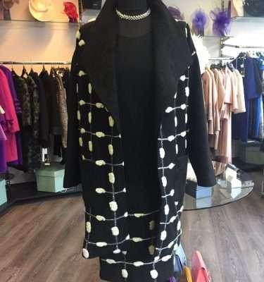 Ella Boo Large Collar Velvet Trim Coat