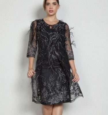 Ella Boo Black Sheer Feather Dress Coat