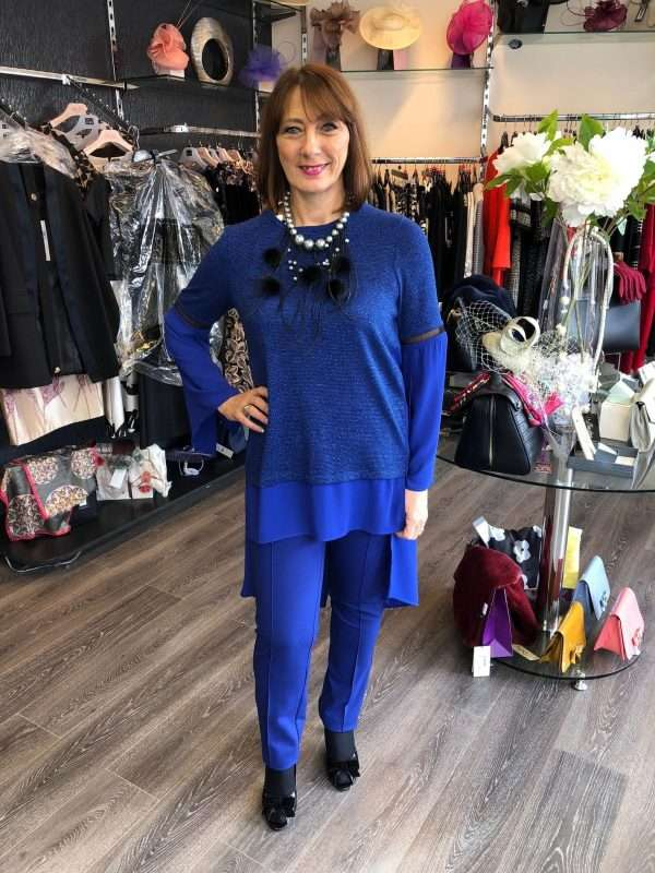 Camelot Tunic Top in Blue Sparkle and Sheer Fabric (Necklace available separately)