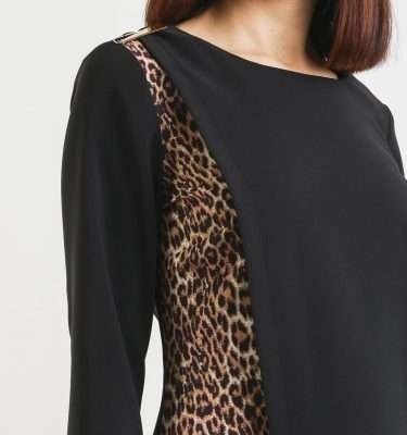 Camelot Black Wrap Dress with Animal Print Inset