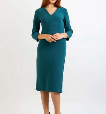 Camelot Fitted Jresey Dress in Teal or French Navy