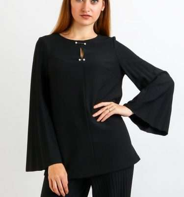 Camelot Pleated Sleeve Tunic With Pearl Detail