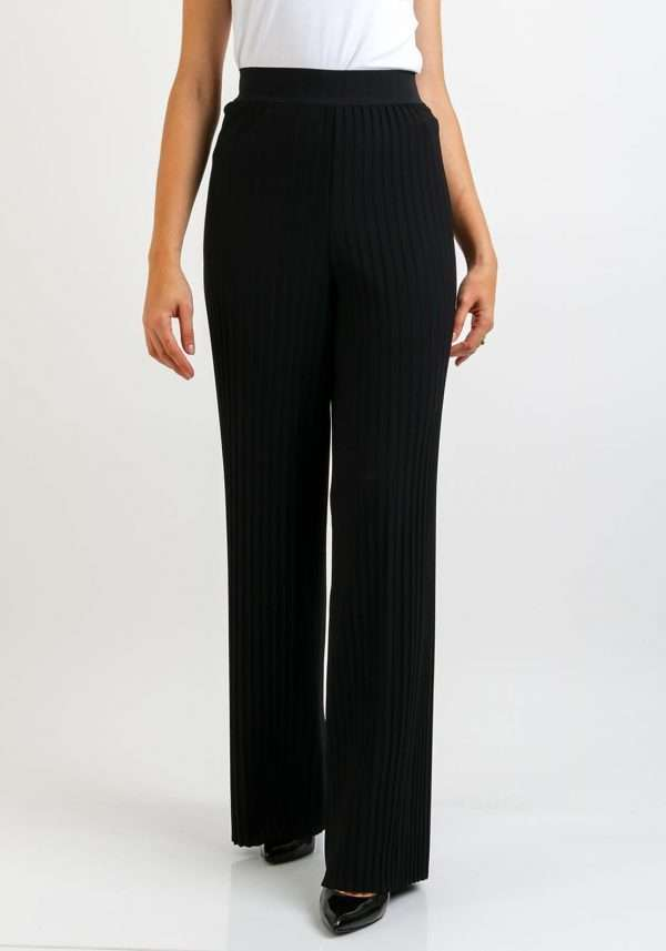 Camelot Black Pleated Trousers with Stretch Waist