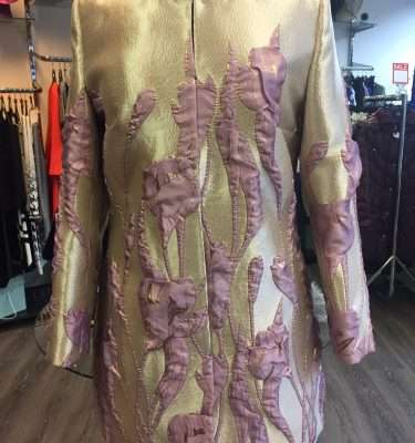 Ella Boo Gold and Pale Plum and Gold Applique Dress and Matching Coat