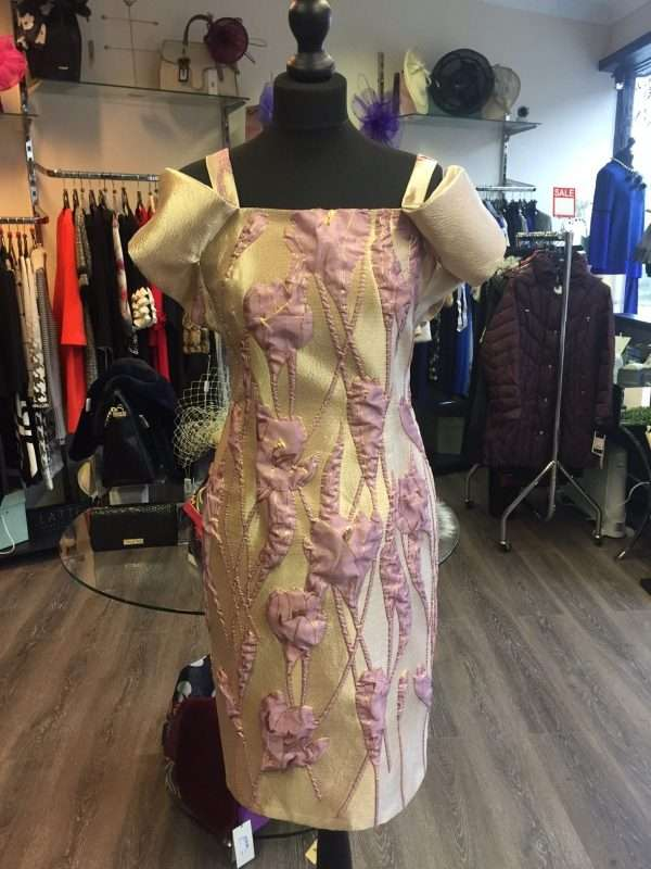 Ella Boo Gold and Pale Plum Applique Dress and Matching Coat