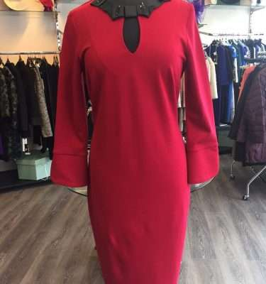 Camelot Red Fitted Dress with Black Sparkle Ribbon Neck Detail