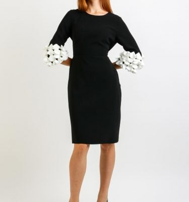 Daisy May Black A Line Dress with White Ruffle Sleeve Detail