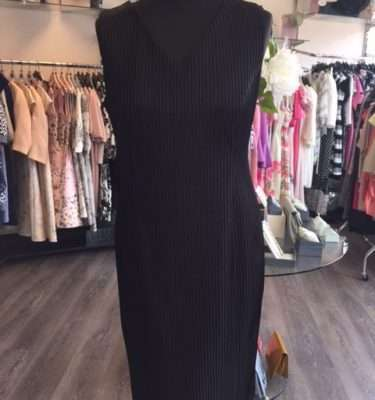 Ella Boo Black Ribbed Fitted Dress