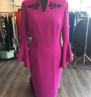 Badoo Fuschia Bell Sleeve Dress with V Shaped Neckline and Applique Design
