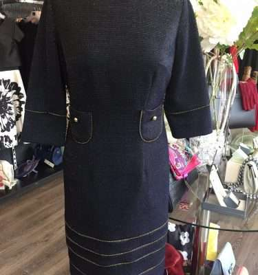 Badoo Navy and Gold Thread Dress with 3/4 Sleeve and Gold Button Pockets