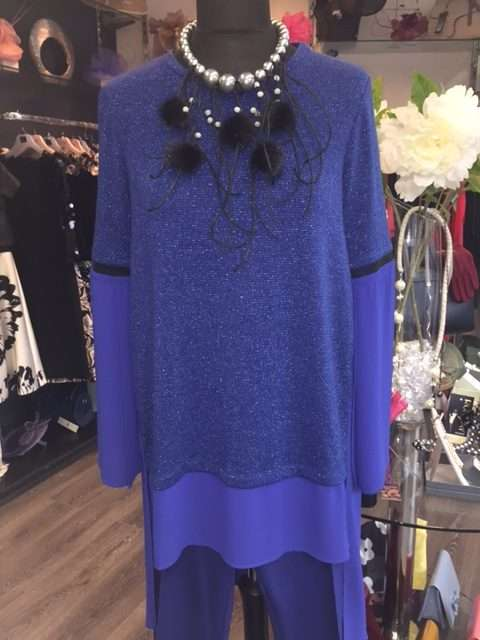 Camelot Tunic Top in Blue Sparkle and Sheer Fabric