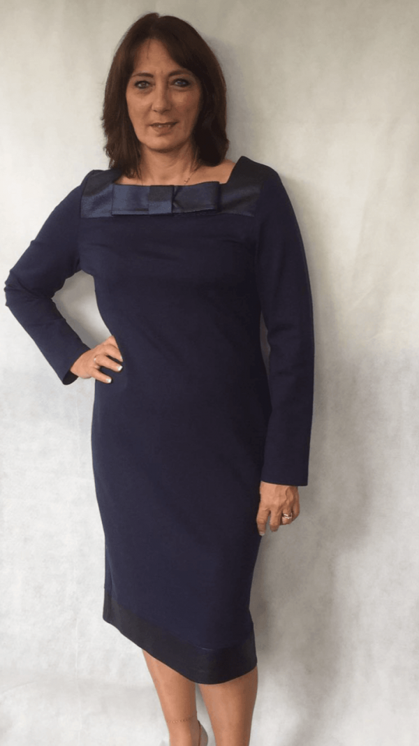 Camelot Navy Jersey Dress with Faux Leather Bow Detail