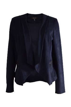 Marie Mero Navy Suede Waterfall Jacket