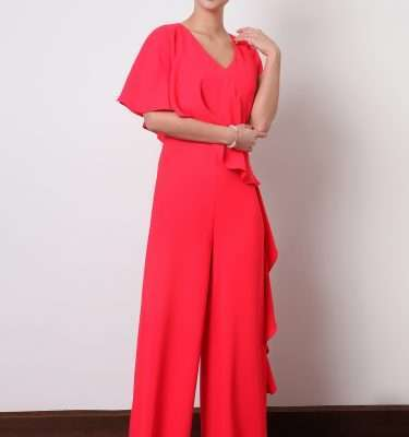 Ella Boo Layered Frill Jumpsuit in Red or Ecru