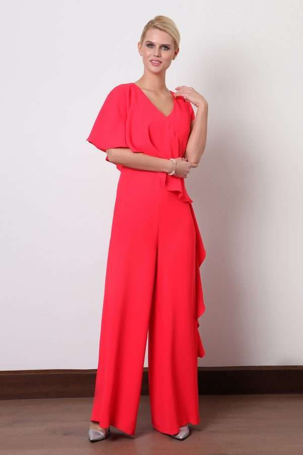 Ella Boo Layered Frill Jumpsuit in Red or Ecru