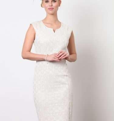 Ella Boo Gold Sleeveless Fitted Dress and Jewel Trim Dress Coat