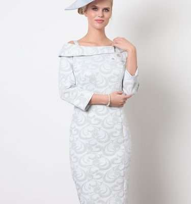 Ella Boo - Pale Blue and Silver Bardot Neck Dress with 3/4 Sleeve