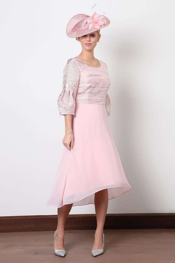 Ella Boo Pink Dipped Hem Dress with Long Bell Sleeve