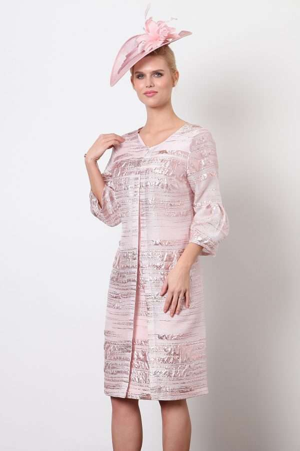 Ella Boo Pink Drape Neck Dress and Matching Bell Sleeve Dress Coat
