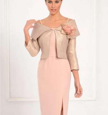 LEXUS Peach Dress and Matching Peach and Gold Bolero Jacket