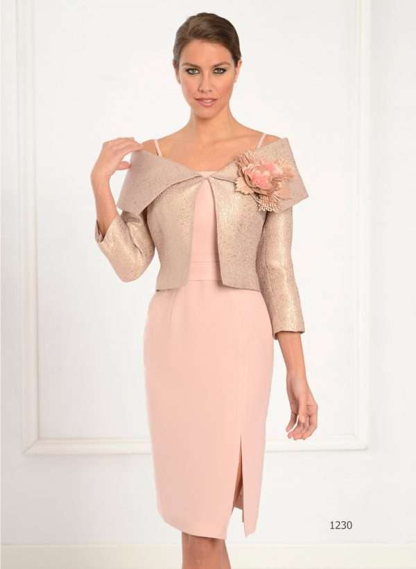 LEXUS Peach Dress and Matching Peach and Gold Bolero Jacket