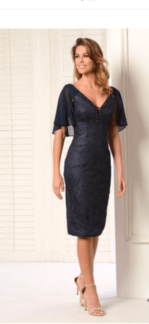 LEXUS Navy Lace Overlay Dress with Sheer Cape Sleeve and Jewelled Plunge Neck