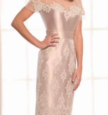 LEXUS Champagne Dress with Diamante Lace Applique and Trim