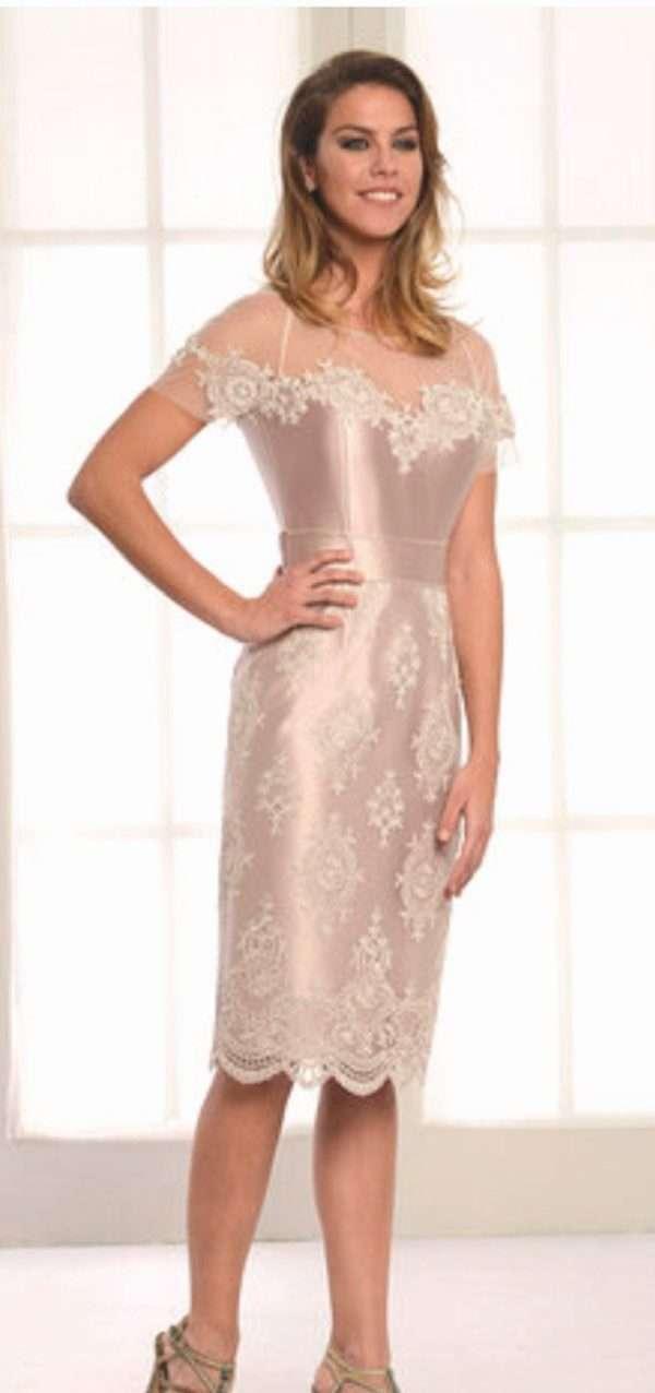 LEXUS Champagne Dress with Diamante Lace Applique and Trim