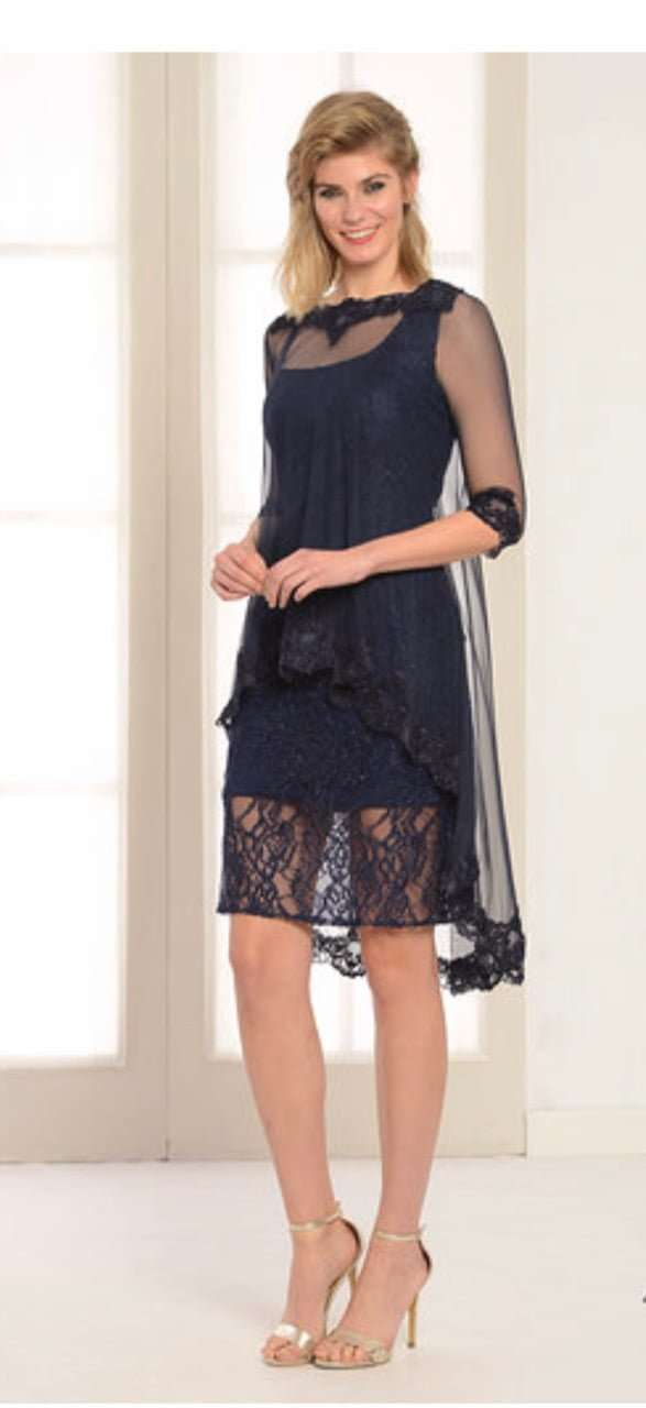 LEXUS Navy Sleeveless Dress With Removable Floaty Jewelled Lace Overlay