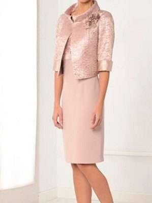 LEXUS Rose and Gold Pattern Bodice Dress with Rose Gold Bolero Jacket