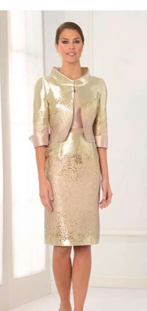 Lexus - Gold and Pink Dress and Matching Long Sleeve Bolero Jacket