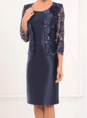 LEXUS Navy Sateen Sleeveless Dress with Lace Sequinned Bolero