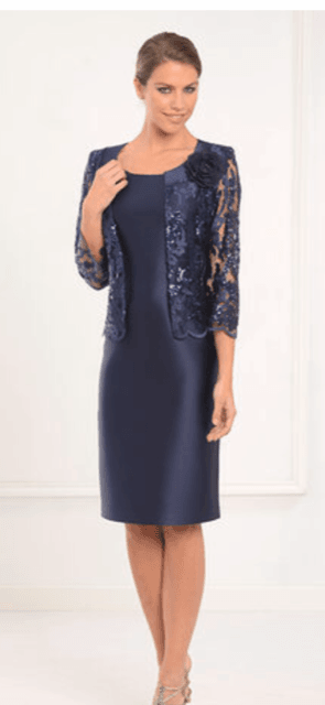 LEXUS Navy Sateen Sleeveless Dress with Lace Sequinned Bolero