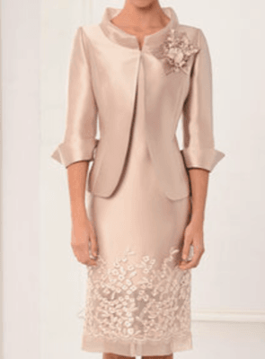 Lexus Champagne Lace Trim Dress with Fitted Collared Jacket