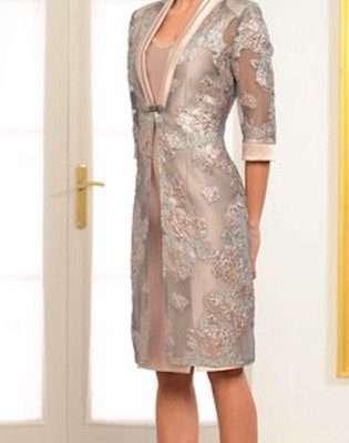 LEXUS Gold Diamante Waist Dress with Gold Patterned Dress Coat
