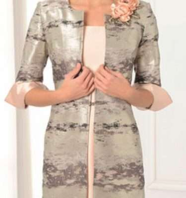 LEXUS Peach Short Sleeve Dress with Diamante Waist and Silver Patterned Dress Coat