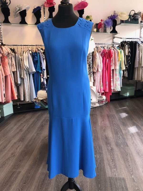ELLA BOO - Ocean Blue Sleeveless Dress with Applique Floral Shoulder and Flair Hem
