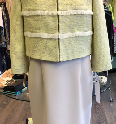 Kate Cooper - Beige Tweed Trim Shift Dress with Matching Lime Tweed Jacket