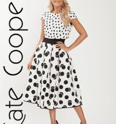 Kate Cooper - Ecru and Black Flair Skirt Dress